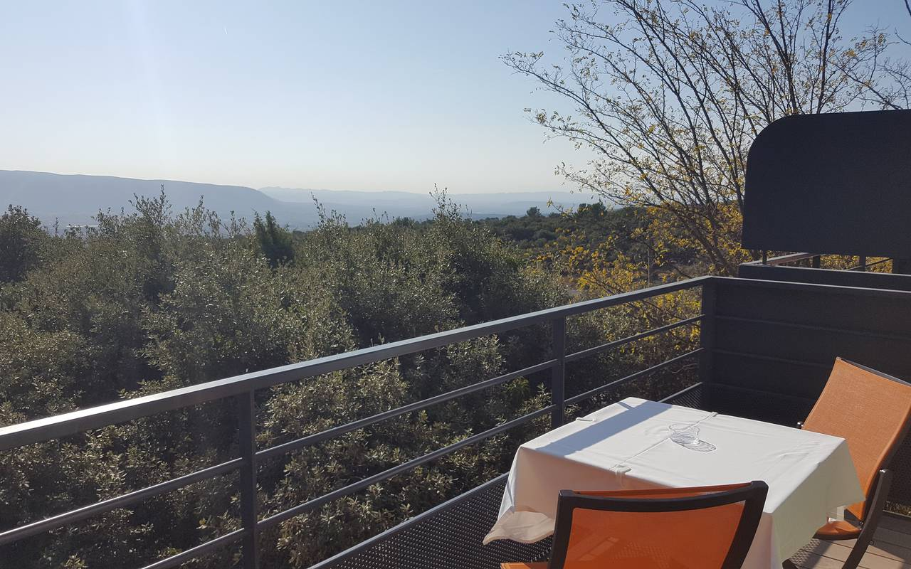 Balcony with panoramic view, spa hotel Provence, hotel Les Bories