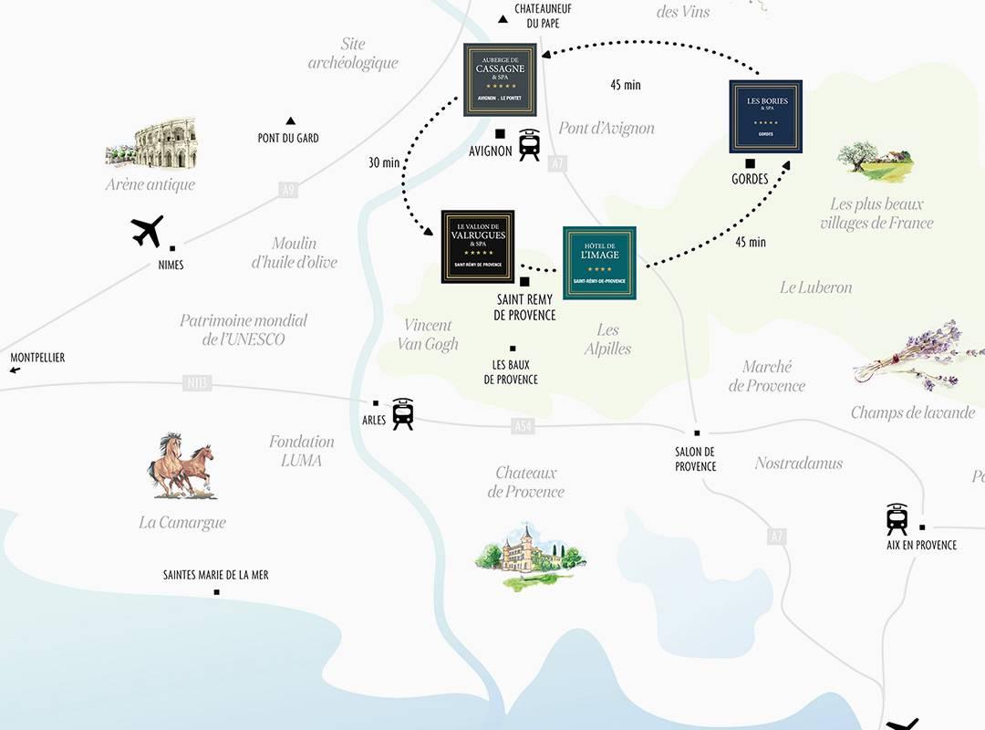 Carte, hôtel 5 étoiles saint remy de provence, Le Vallon de Valrugues & Spa.